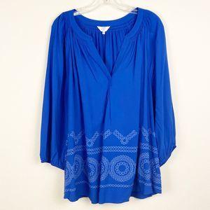 Crown & Ivy Cobalt Blue Blouse 3X NWT